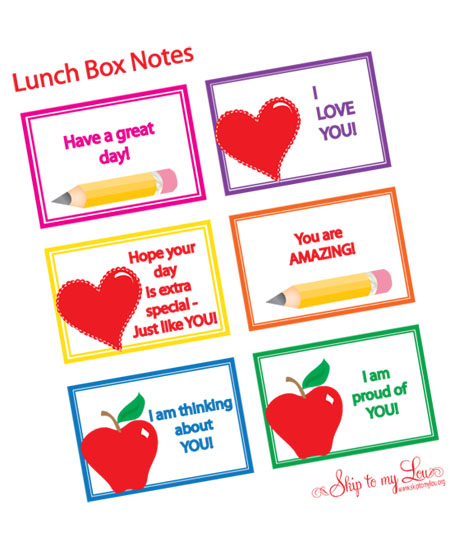 6 Images of Free Printable Lunch Box Love Notes