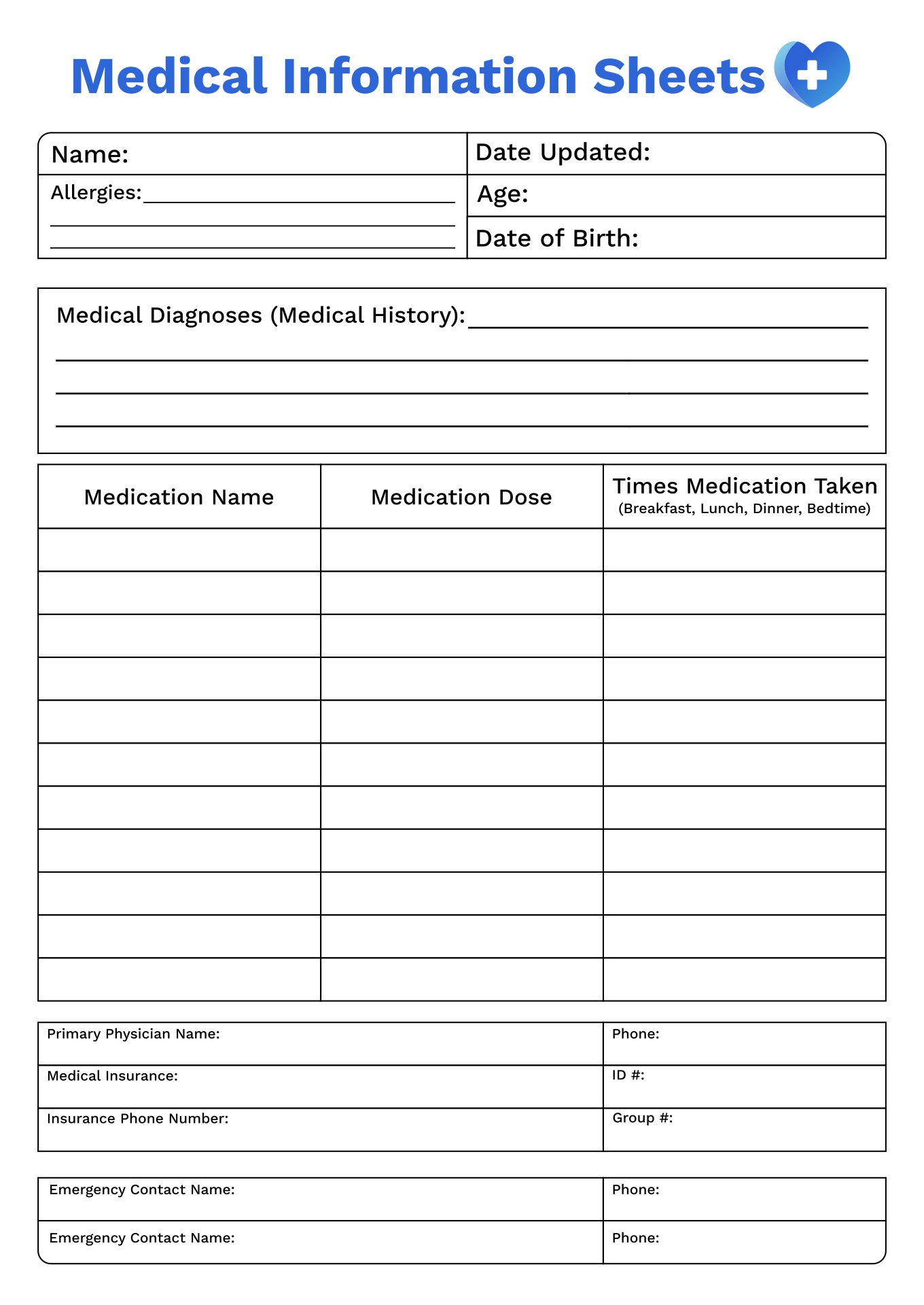 5 Images of Free Printable Medical Binder Forms