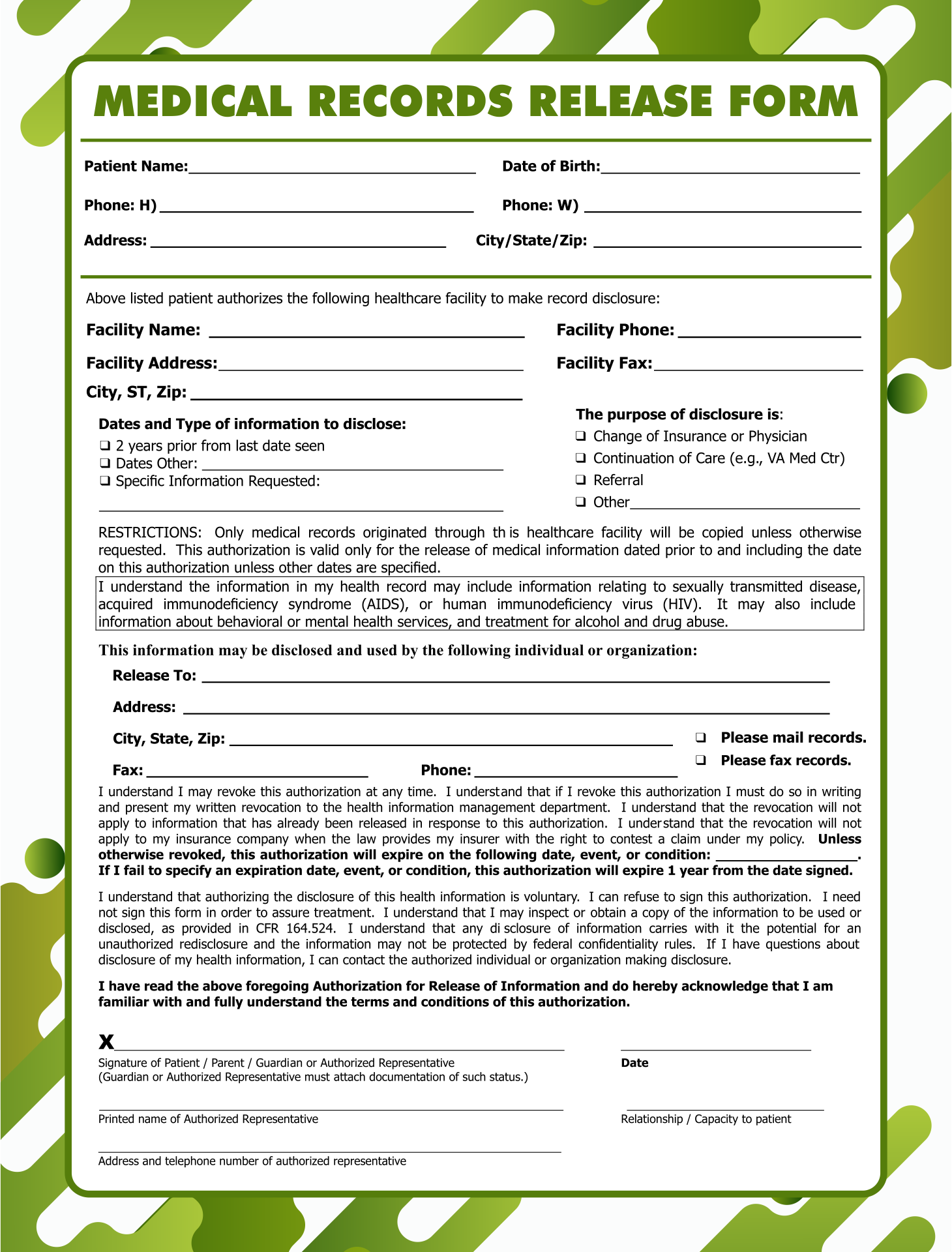 Doc650753 Medical Record Release Form Template Medical – Medical Release Form