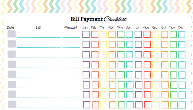 4 Images of Free Printable Monthly Bill Payment Checklist
