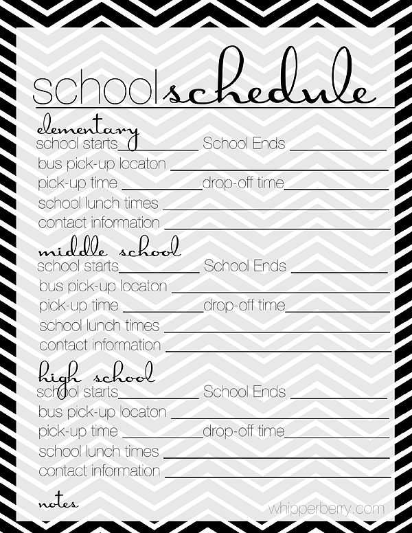 school planner pages