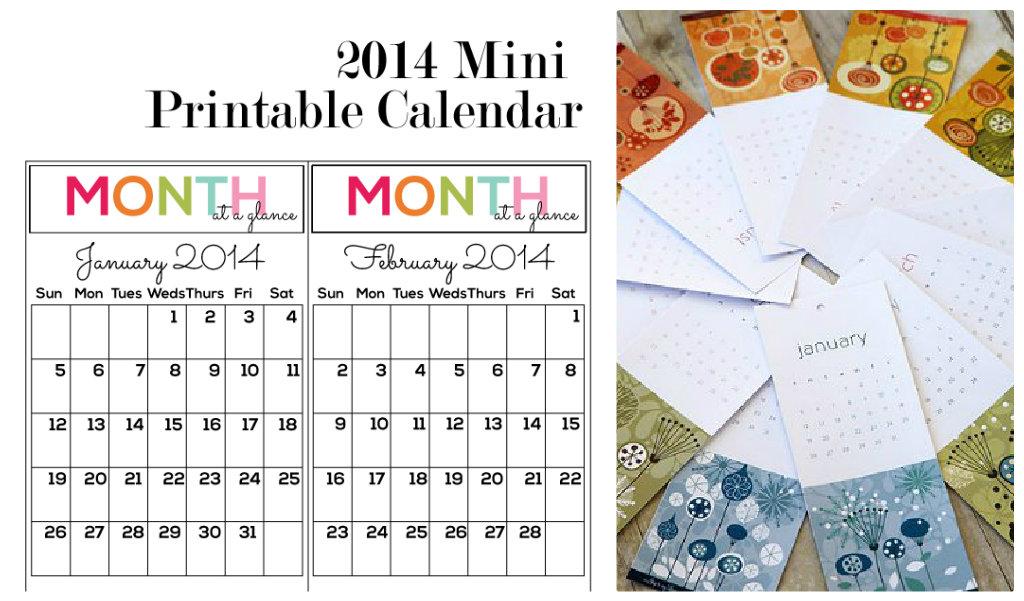 7 Images of Printable Mini Calendars 2014