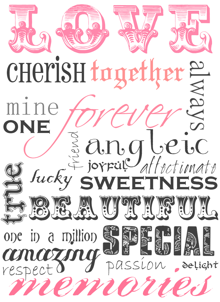 5 Images of Free Printable Love Word Art