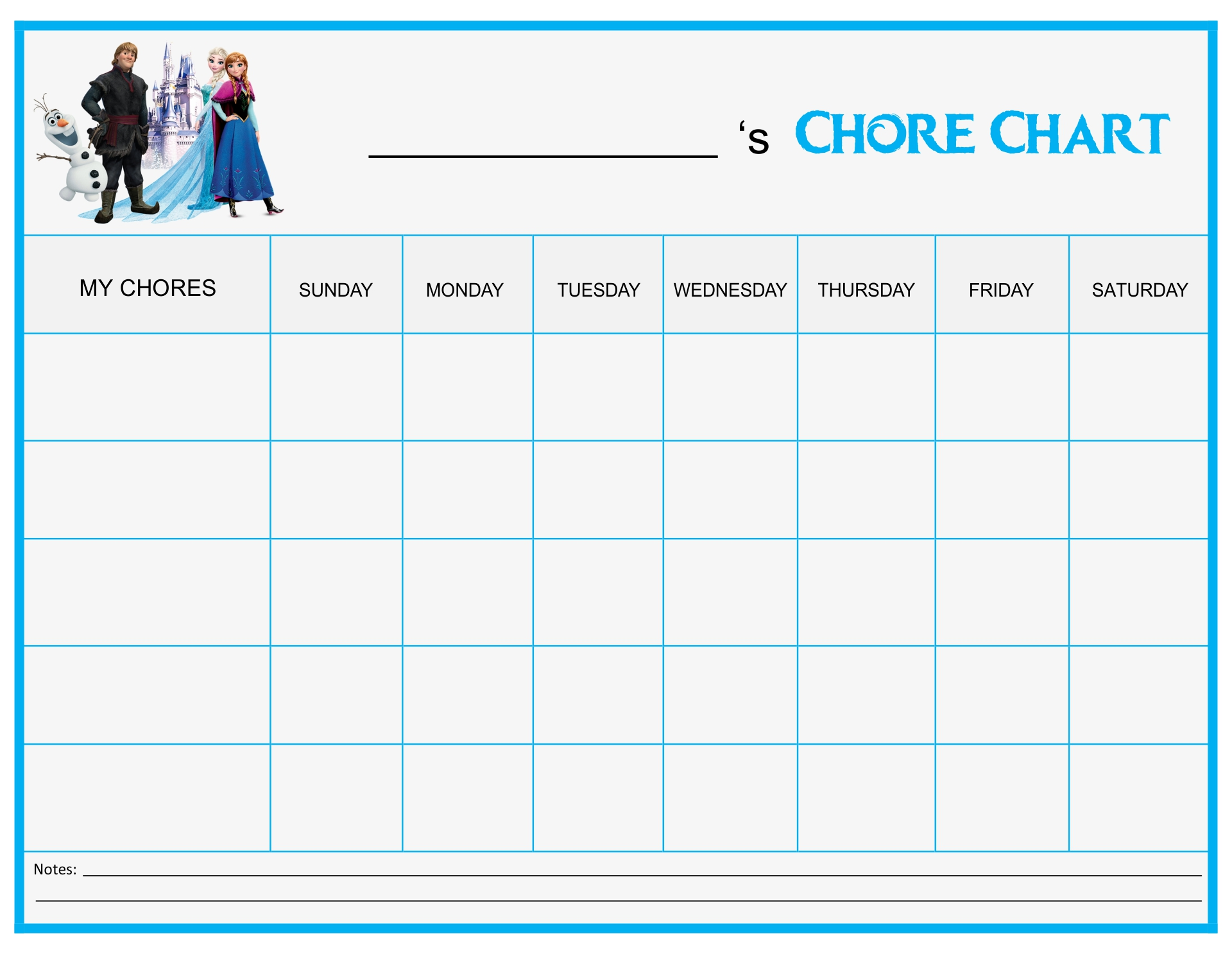 Frozen Printable Chore Chart