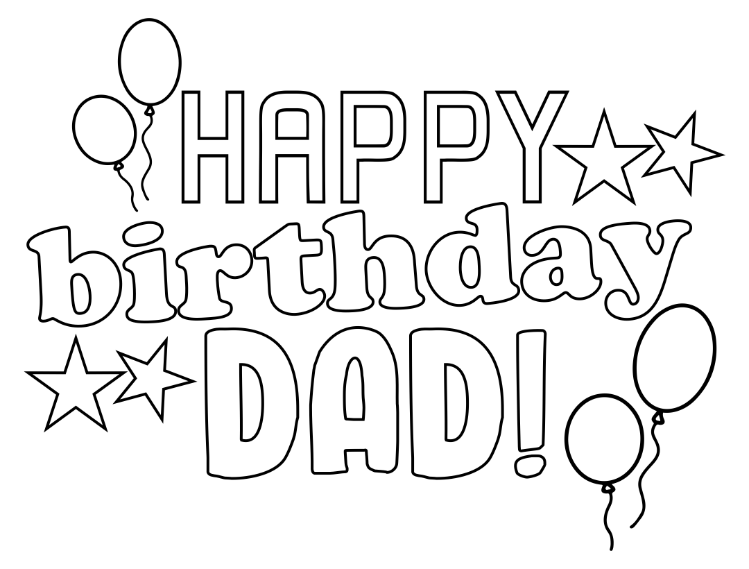 Happy Birthday Dad Coloring Card Printables