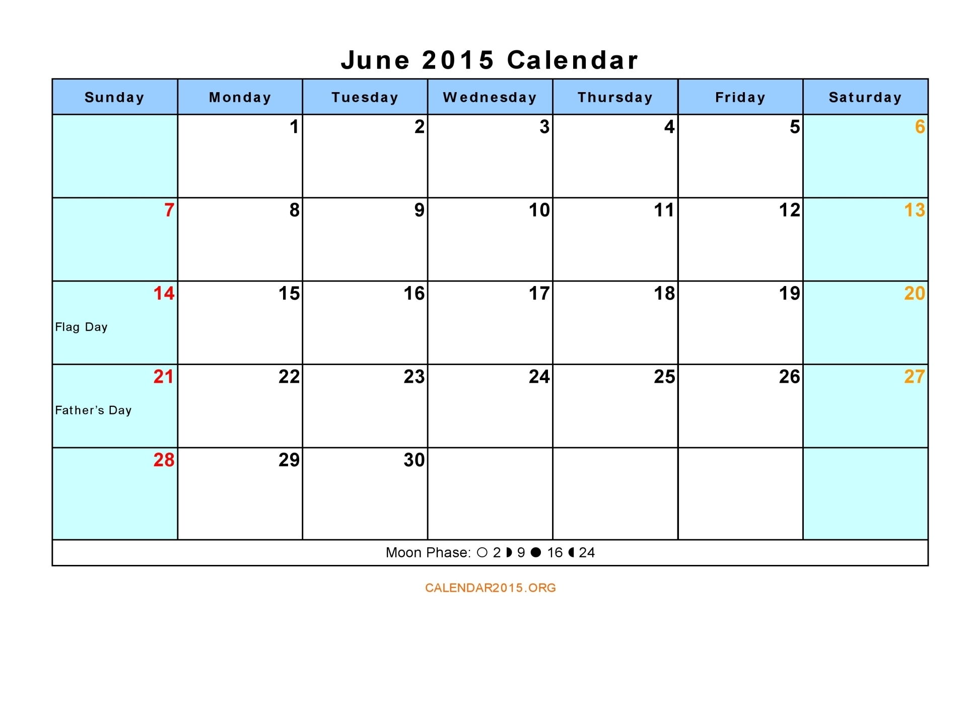 6 Images of June 2015 Calendar Free PDF Printable