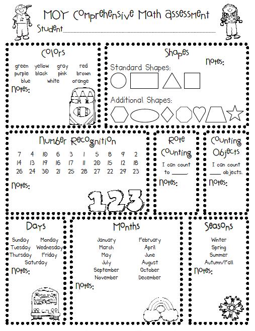 6 Images of Printable Preschool Assessment Skills