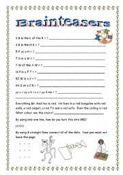 math worksheet : 8 best images of printable brain teasers for students  printable  : Math Brain Teaser Worksheets