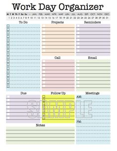 Printable Day Organizer Work