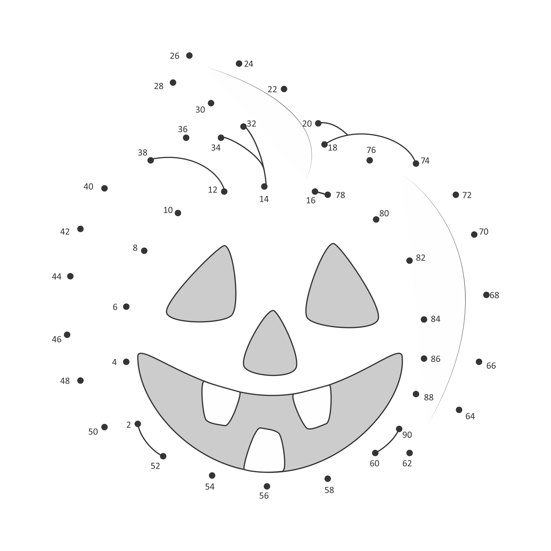 Printable Halloween Connect the Dots Coloring Pages
