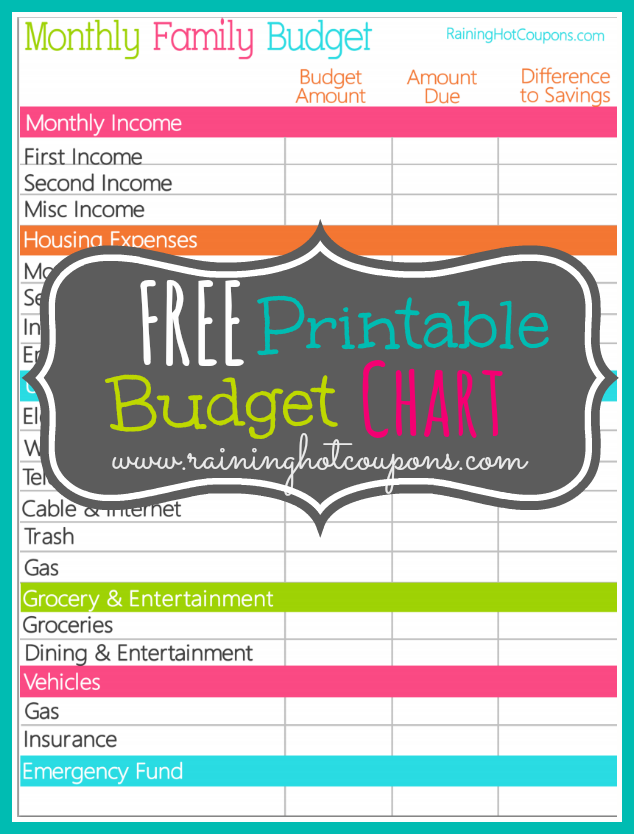 5 Images of Free Printable Monthly Budget Chart