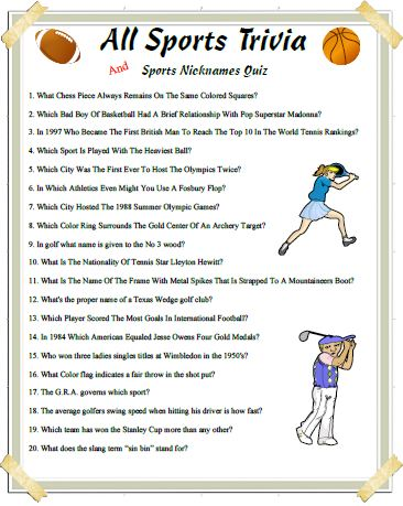 7 Images of Printable Sports Trivia With Answers