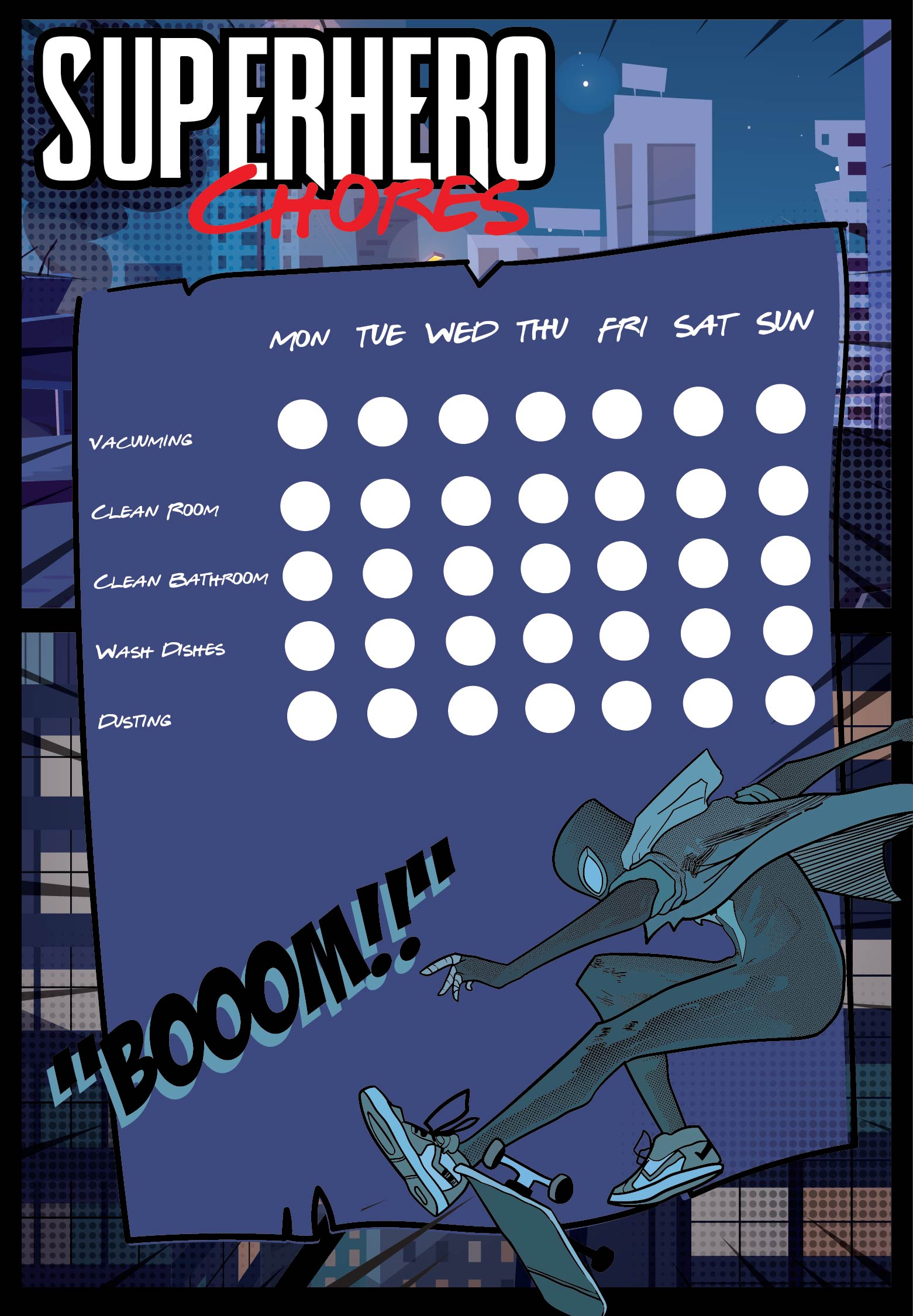 Printable Superhero Chore Chart