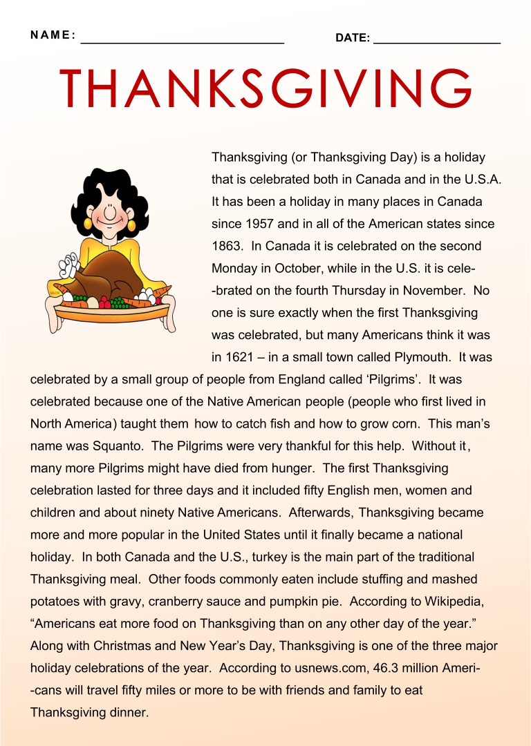 Printable Thanksgiving Reading Comprehension Worksheets