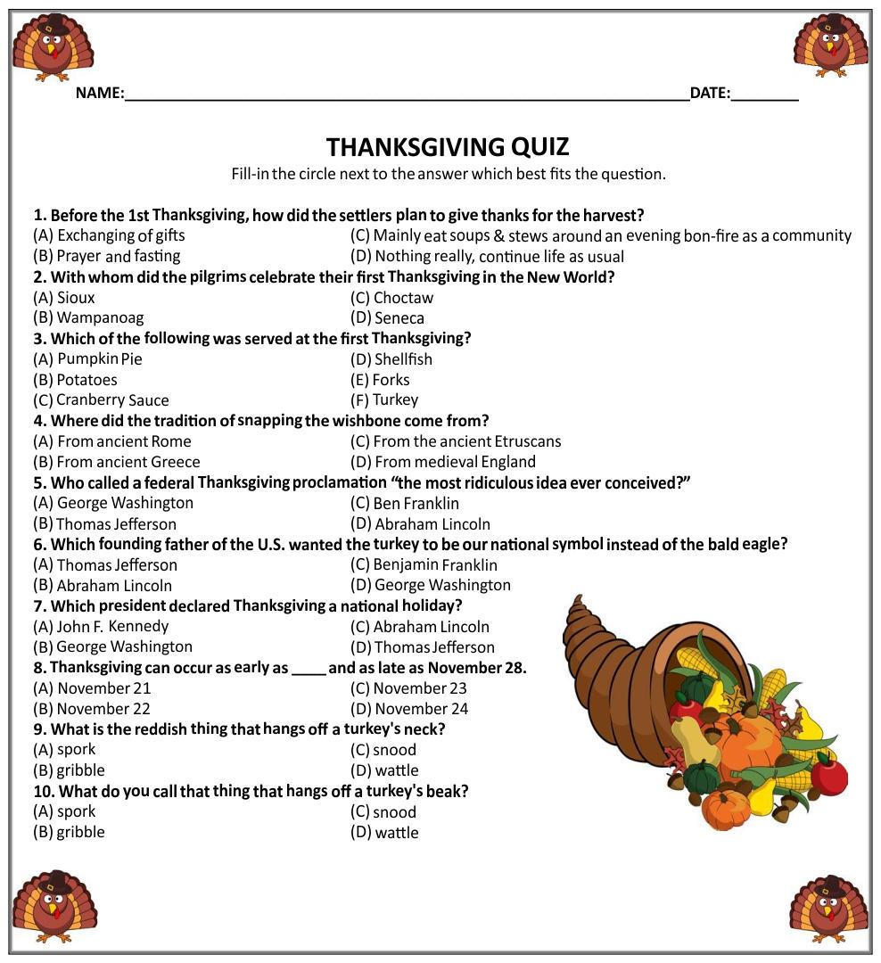 Printable Trivia Thanksgiving Games