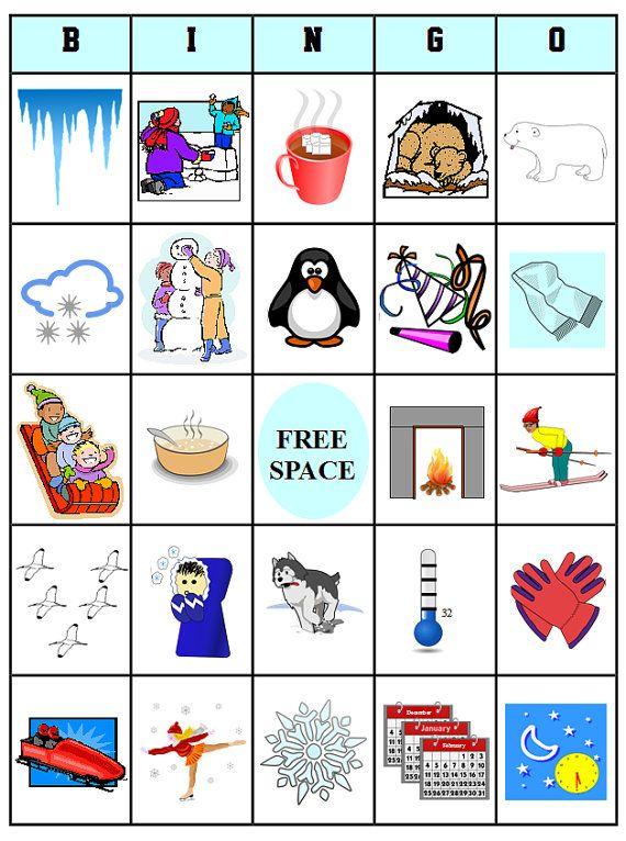 8 Images of Winter Bingo Card Printable Set