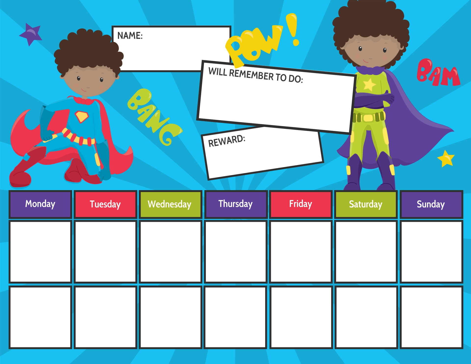9 Images of Super Hero Free Printable Chore Chart