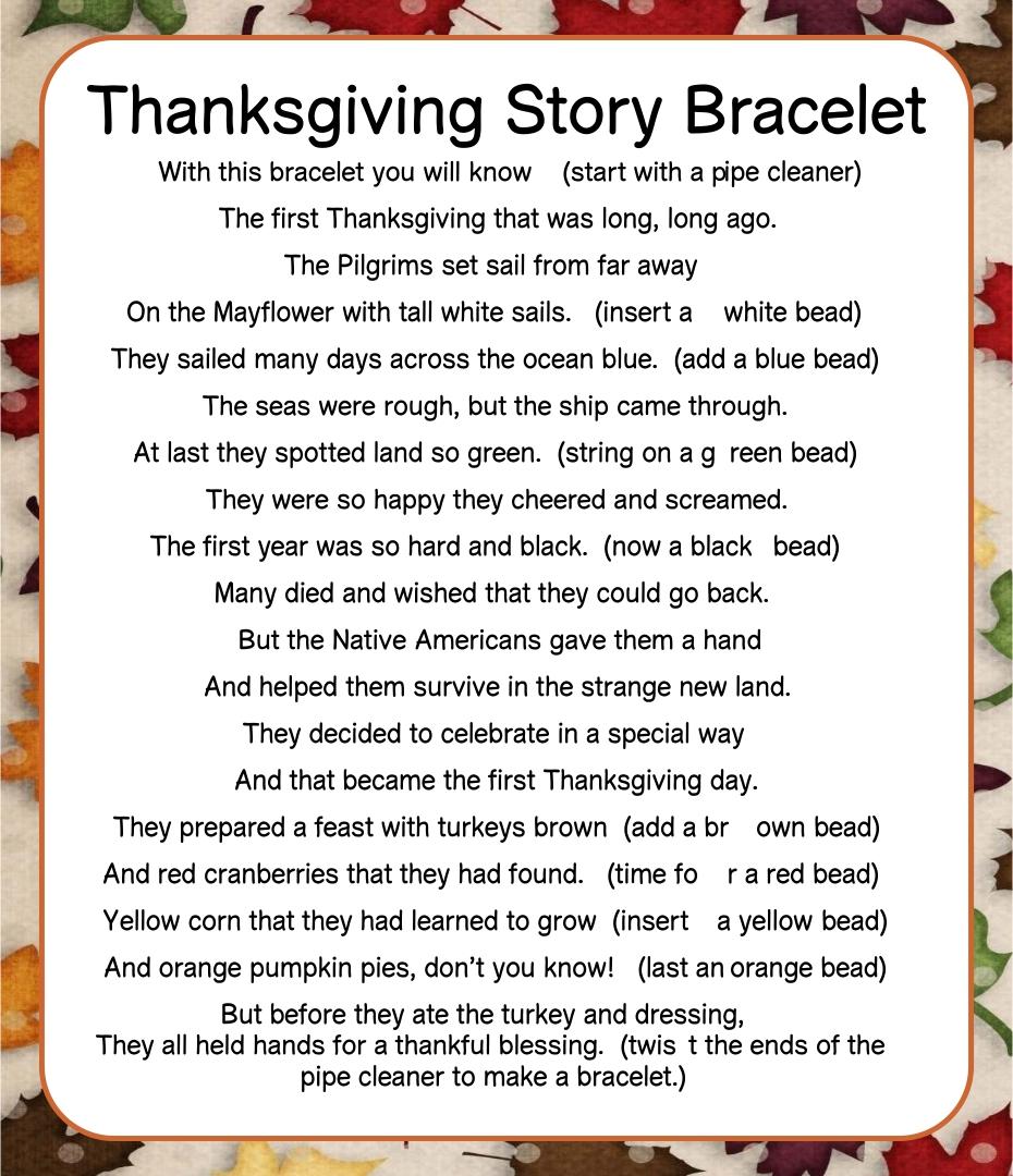 Thanksgiving Story Bracelet Poem