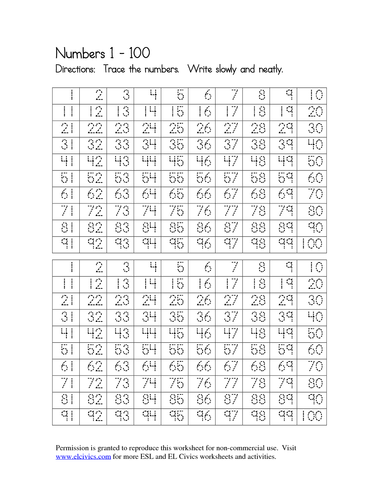 5 Best Images of Number Tracing Worksheets 1-100 Printables ...