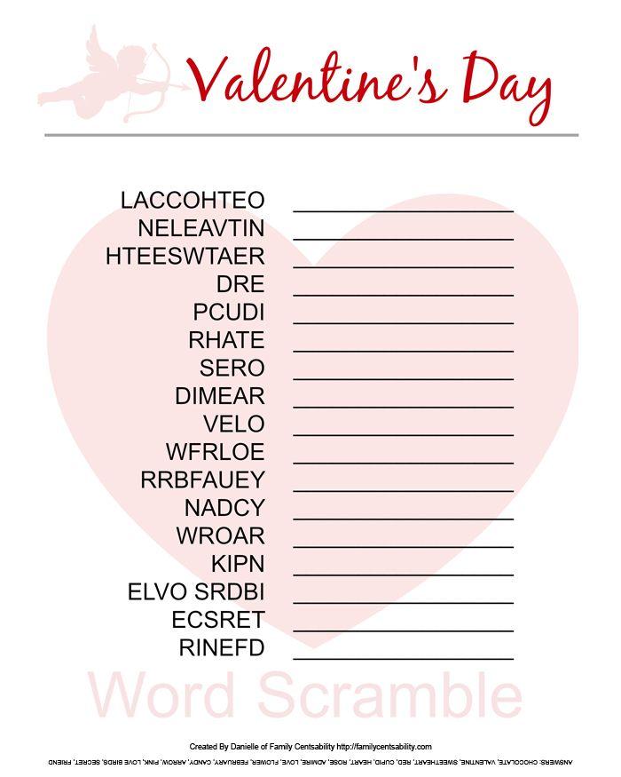 5 Images of Valentine's Word Scramble Printable