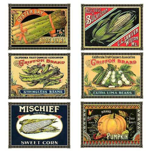 7 Images of Vintage Vegetable Labels Printable