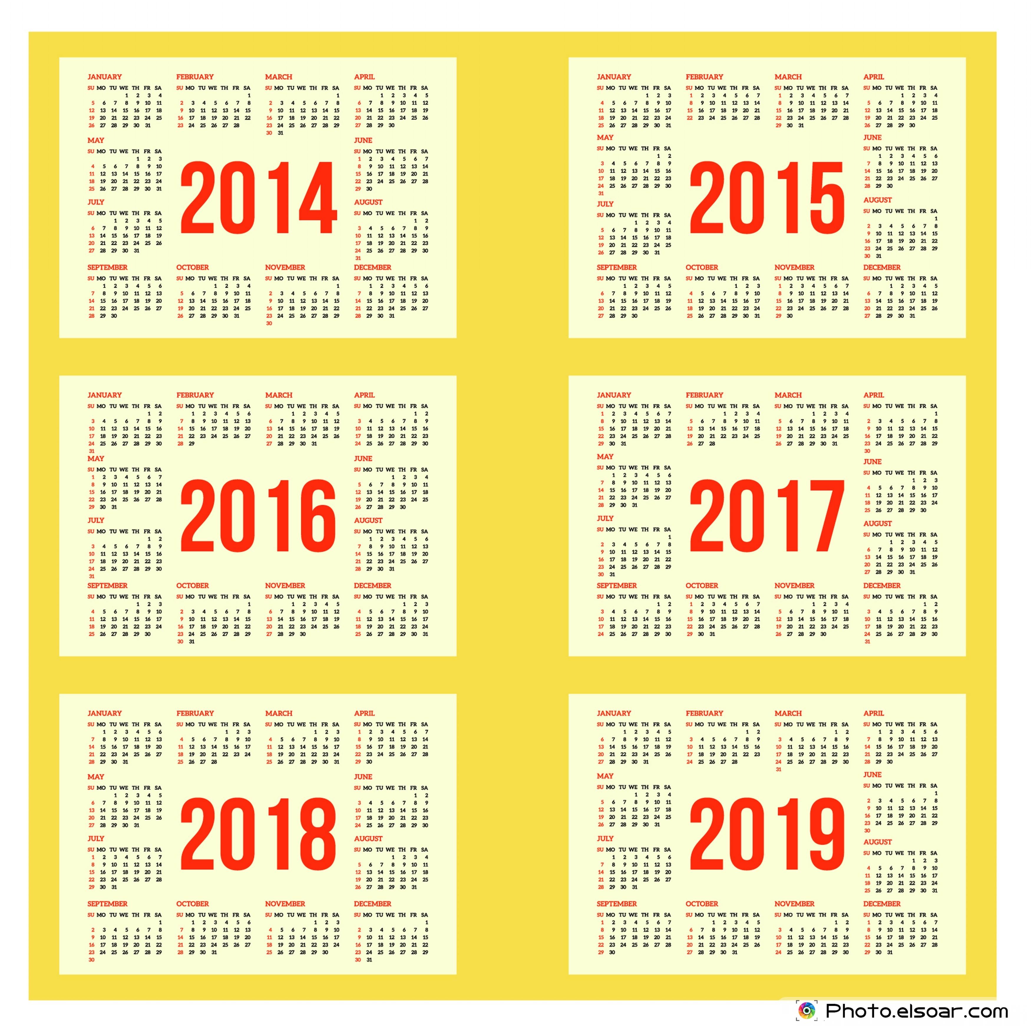 calendar 2015 2018 printable