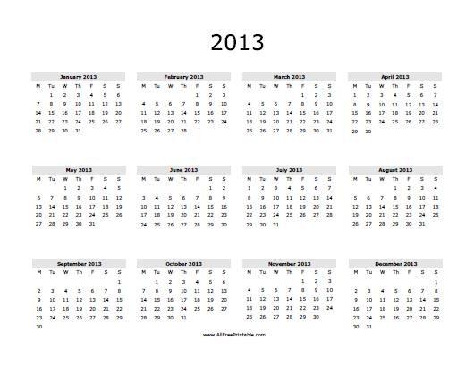 6 Images of 2013 Calendar Printable Free PDF