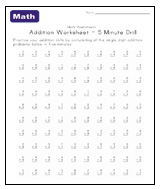 math worksheet : 7 best images of printable math addition drill worksheets  first  : Math Drills Worksheets