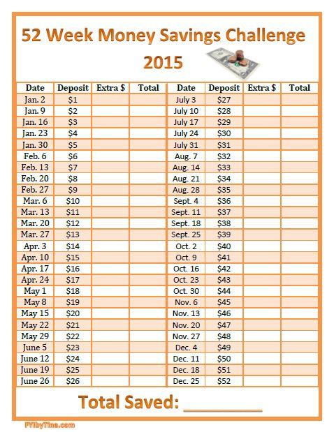 8 Images of 52 Week Money Challenge Printable 2015
