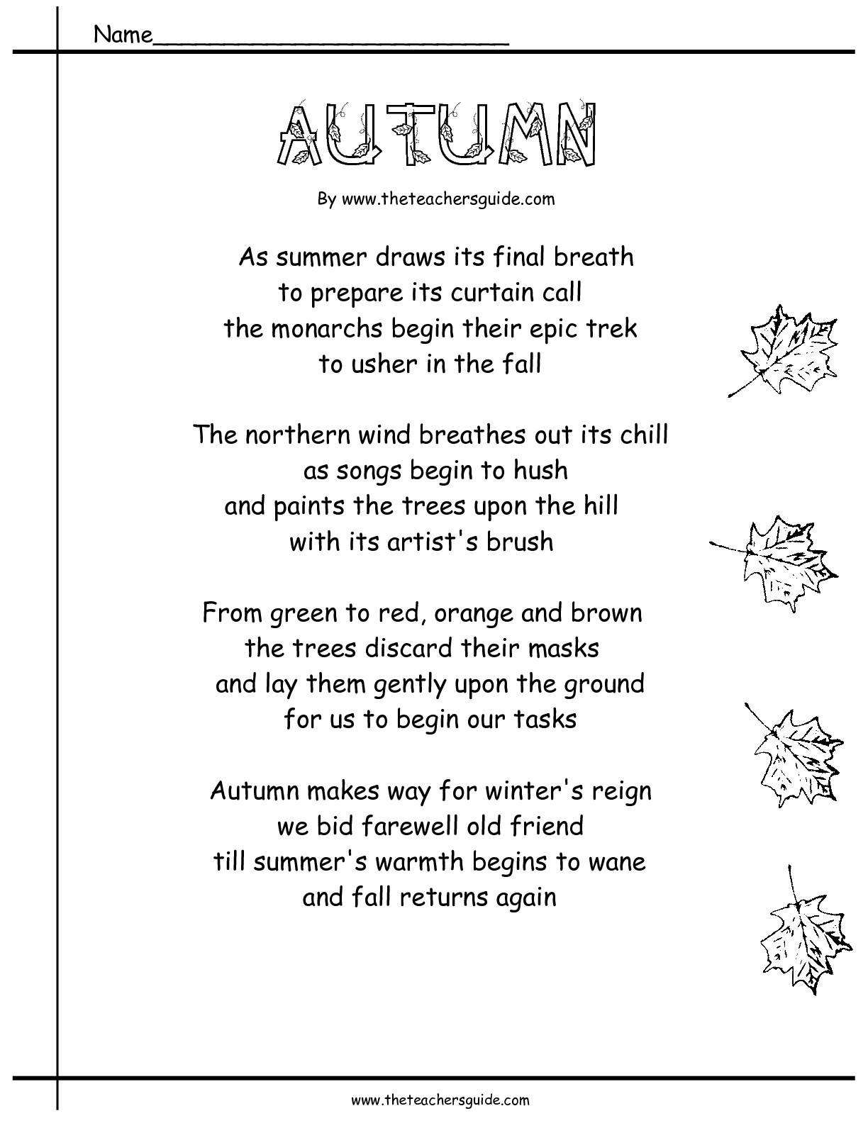 Autumn Fall Poem Worksheets