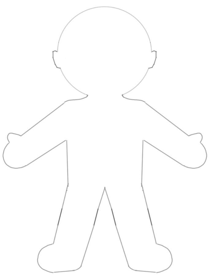 5 best images of large printable paper doll template blank paper doll template gingerbread for Large paper doll template
