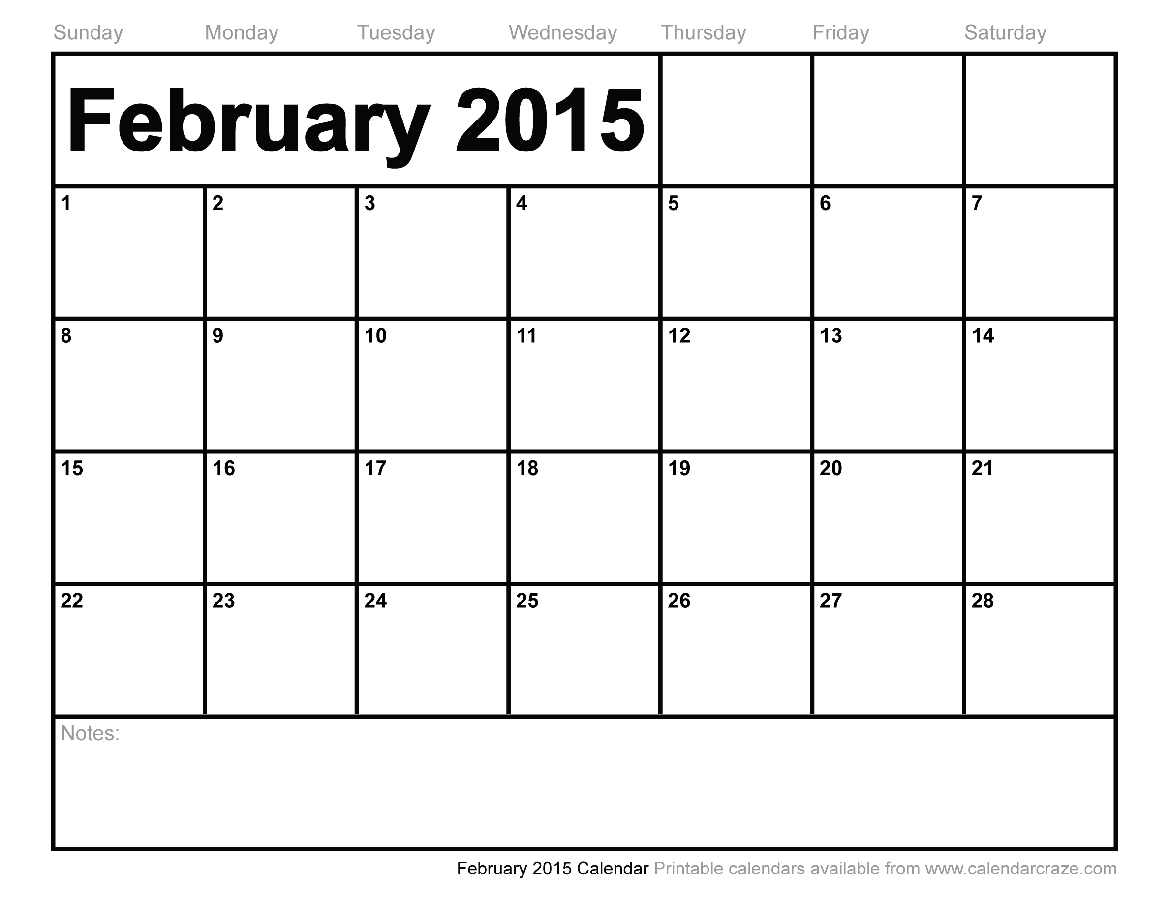 8 Images of February 2015 Monthly Calendar Printable