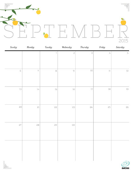 6 Images of Cute Printable September 2015 Calendar