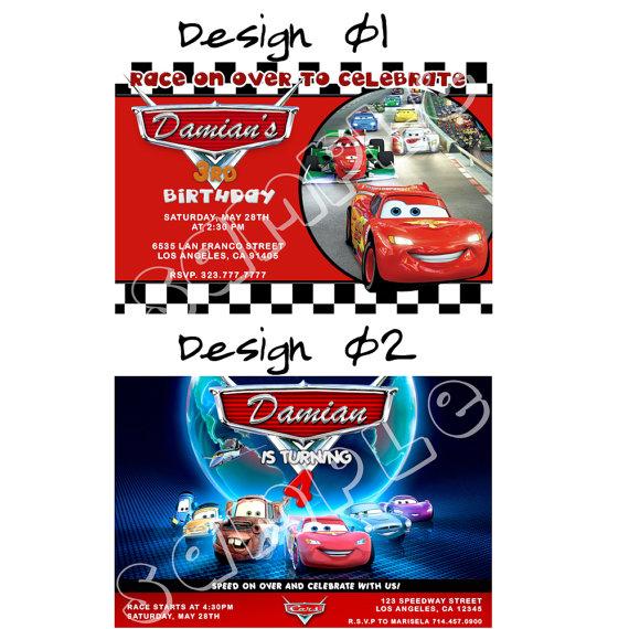 Disney Cars Birthday Invitations Printables