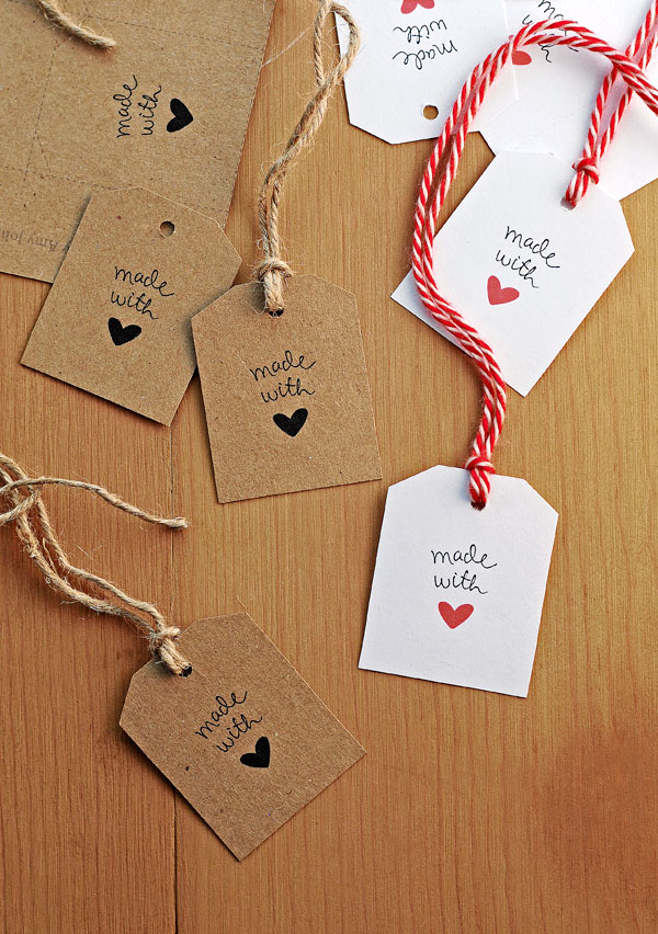 5 Images of Made With Love Printable Tags