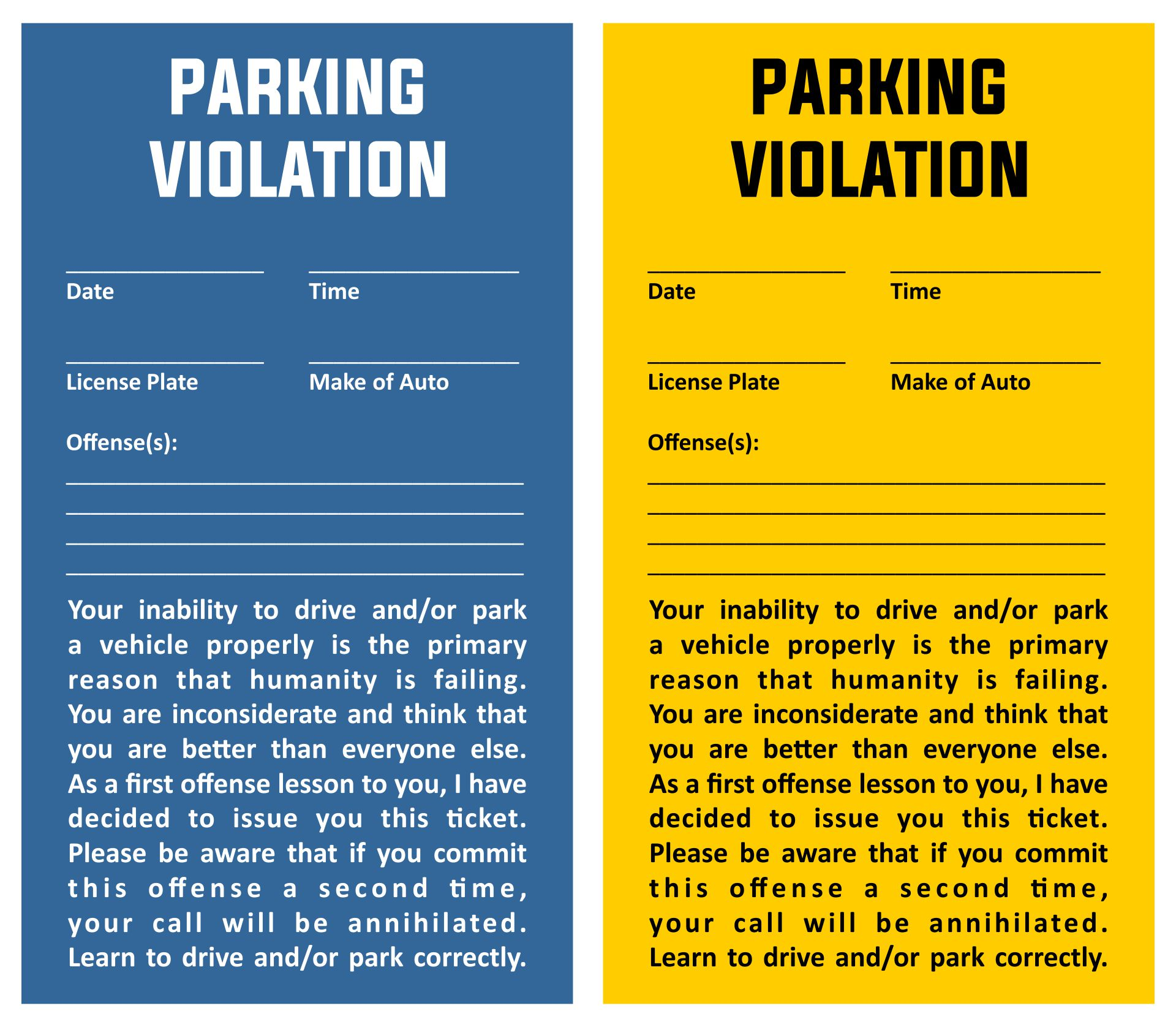 Invaluable image with fake parking ticket printable