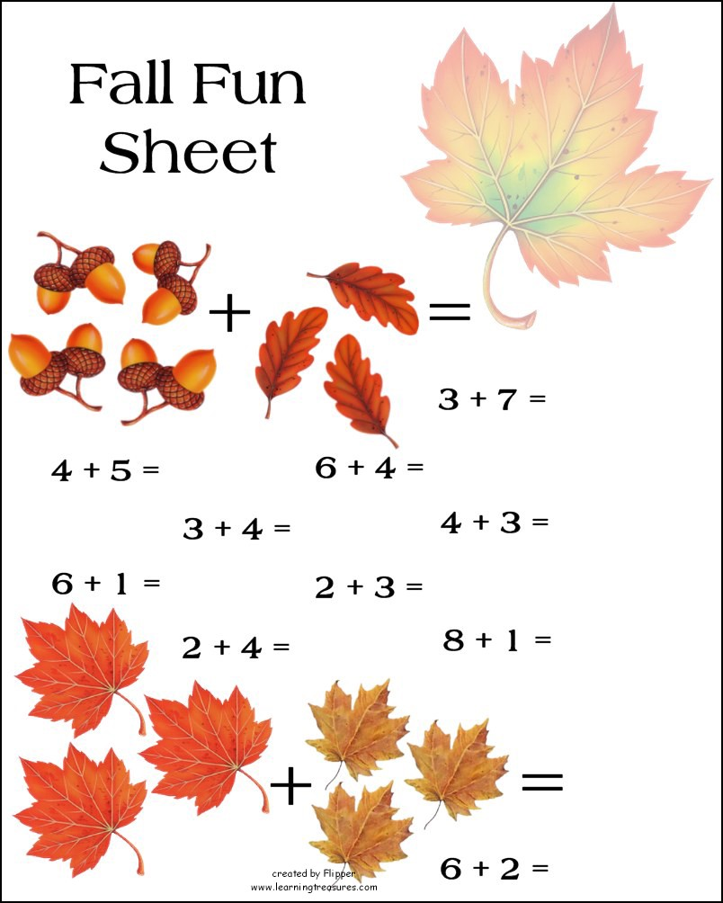 Autumn Counting Worksheets For Preschoolers Pictures to Pin on – Fall Worksheets for Preschool