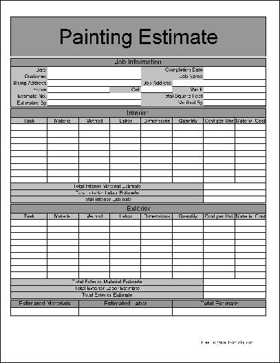9 best images of painting estimate forms printable free for Written estimate template