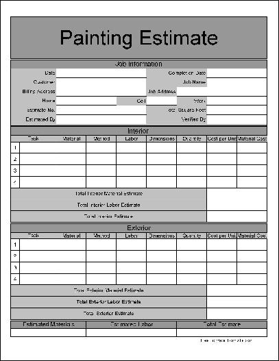 9 best images of painting estimate forms printable free