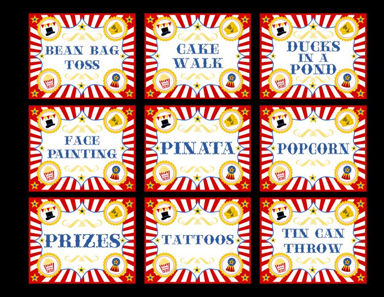Free Printable Circus Carnival Signs