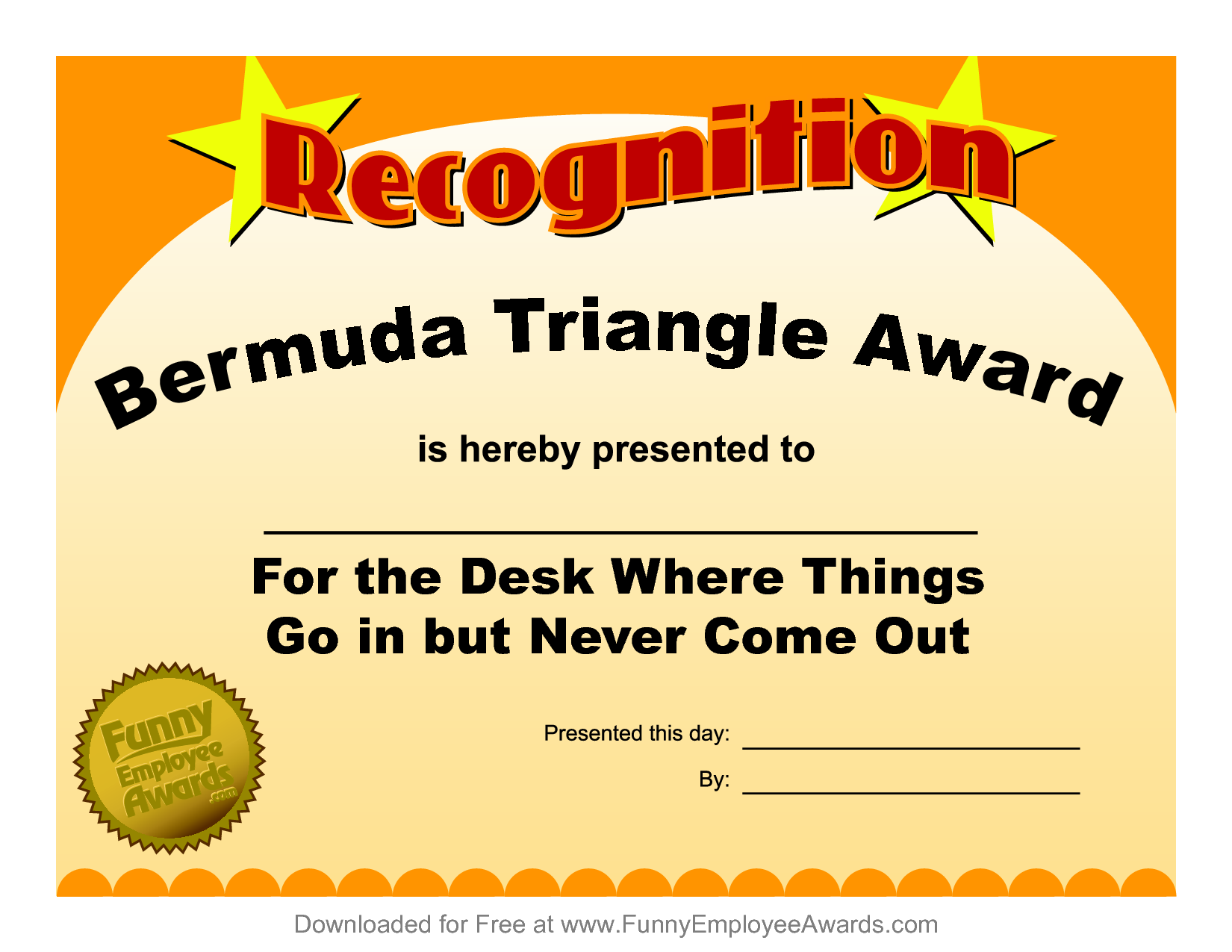 4 best images of funny printable certificates free for Funny certificates for employees templates