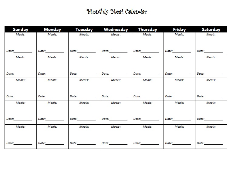 7 Images of Printable Meal Calendar Template