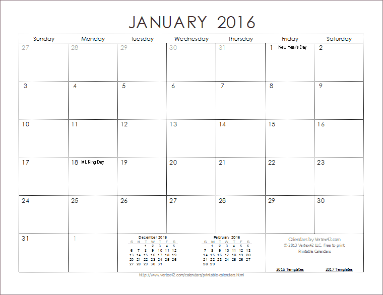 9 Images of Free Printable 2016 Monthly Calendar Template
