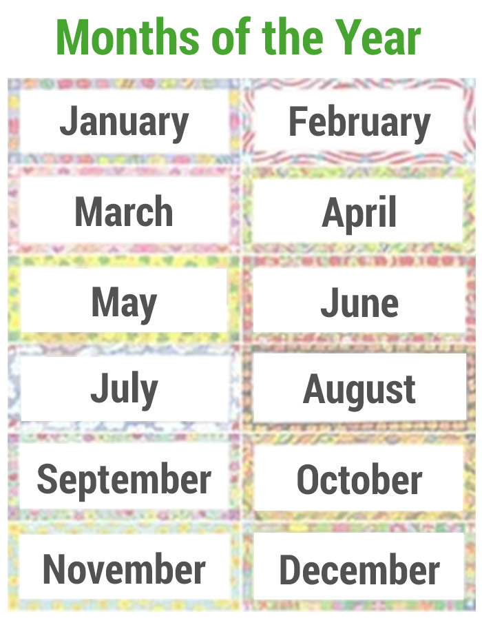 Number Names Worksheets : printable months of the year Printable ...