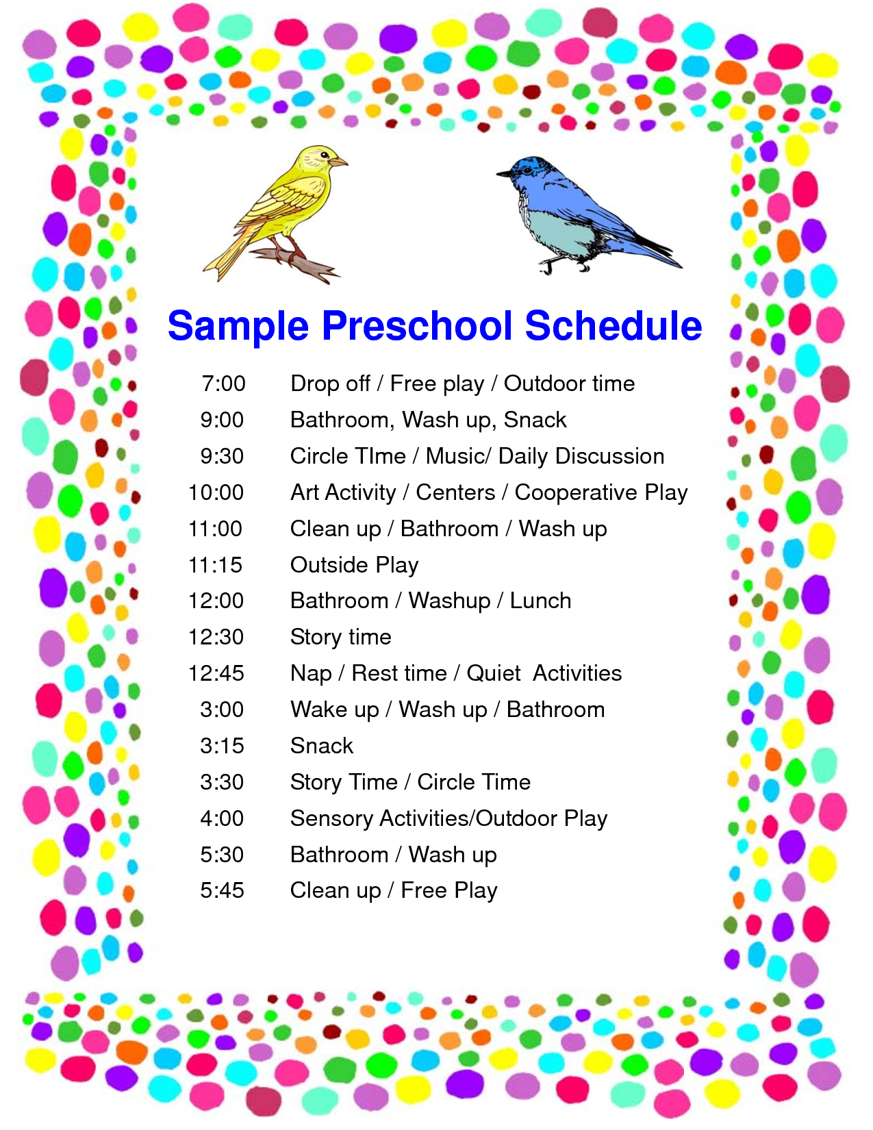 7 best images of printable picture schedule for preschool for Kindergarten timetable template