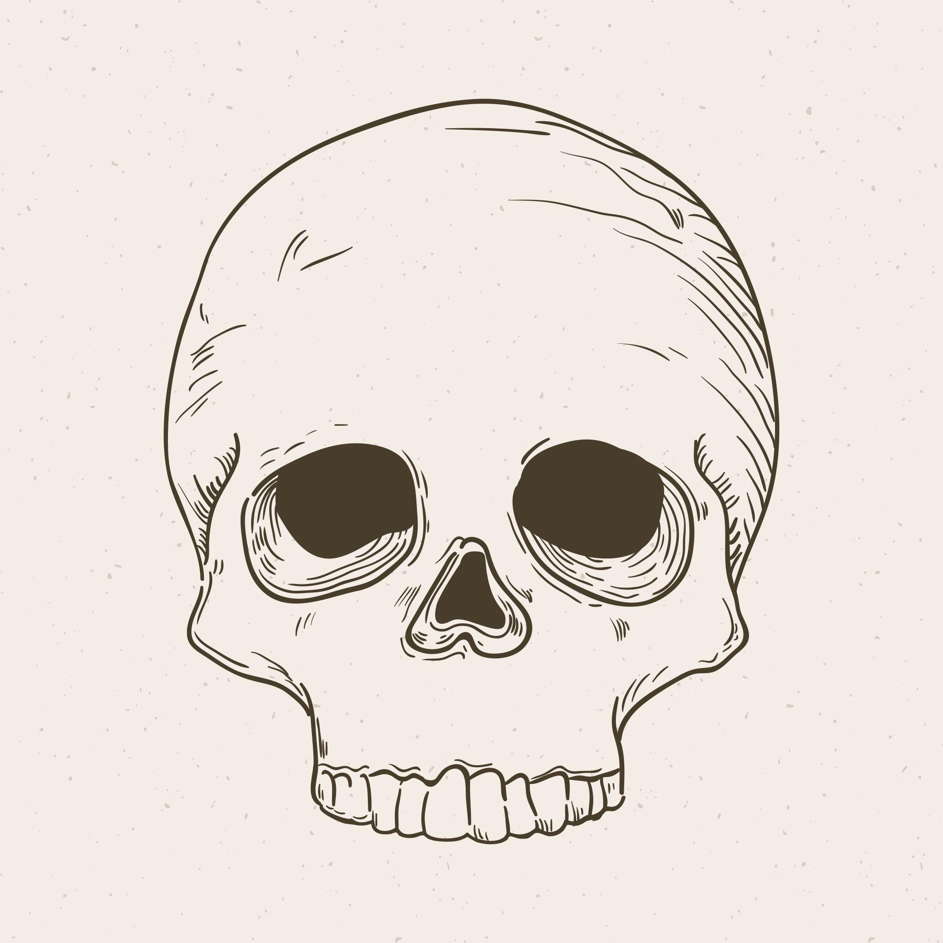 Printable Vintage Halloween Skull