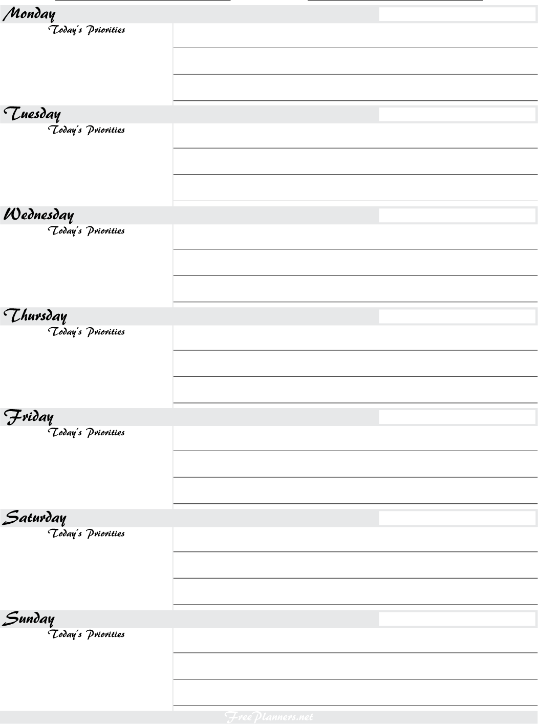 7 Images of Free Printable Planners