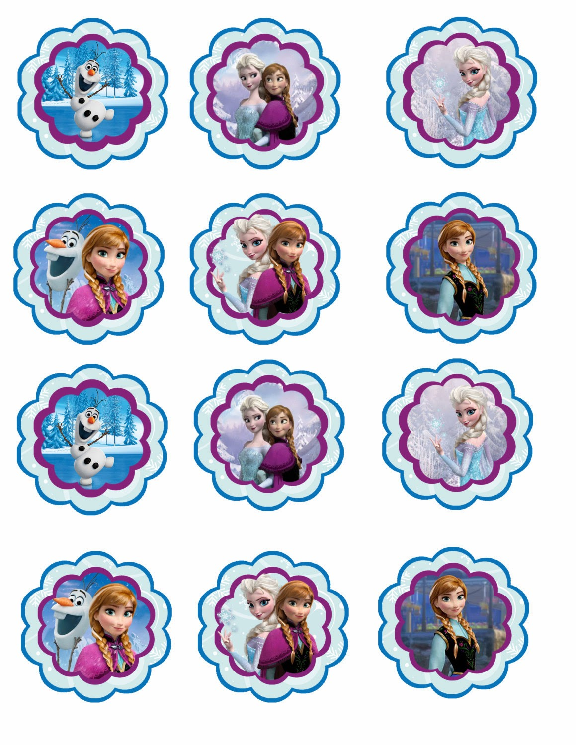 6 Images of Free Printable Cupcake Toppers Disney Frozen