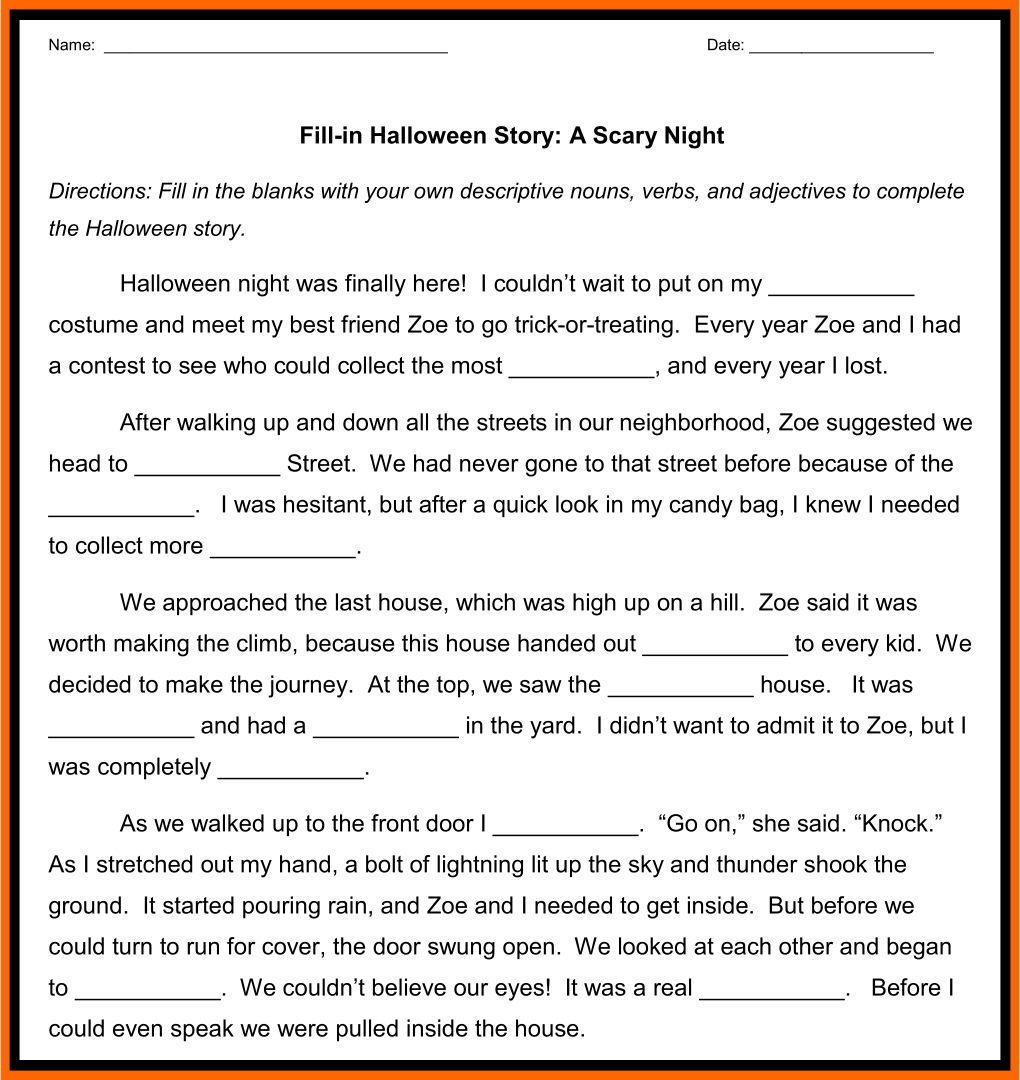 5 Images of Halloween Fill In The Blank Stories Printable
