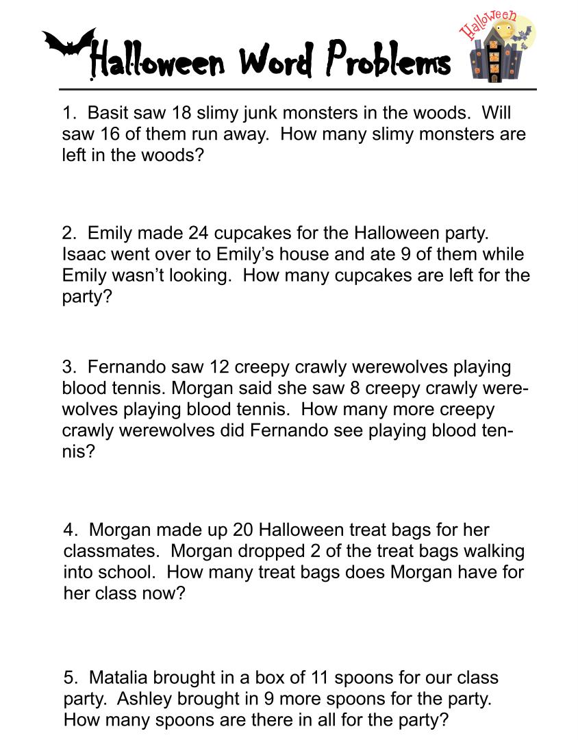Halloween Word Problem Worksheets